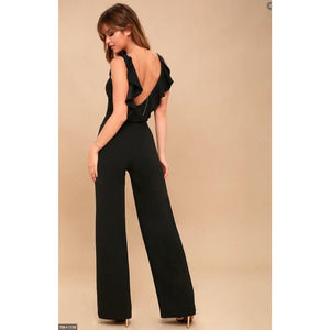 LULUs Enamored With You Ruffle Open Back Jumpsuit